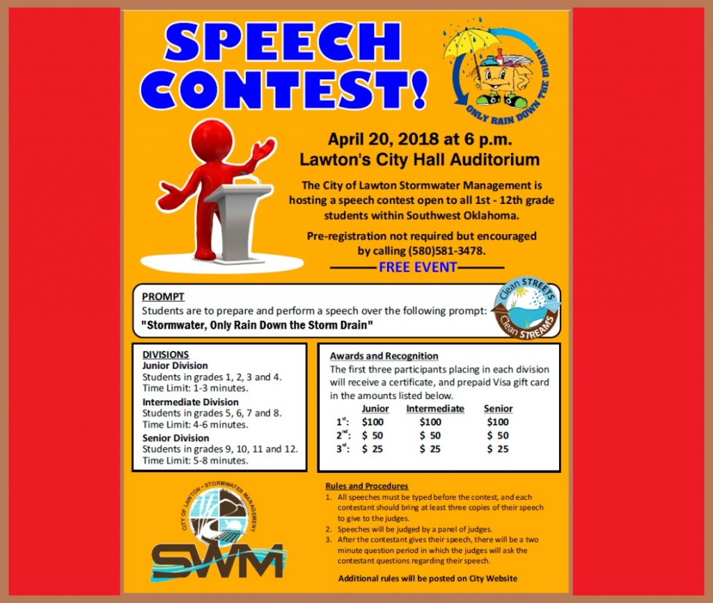 Stormwater speech contest lawtonok city of lawton stormwater diviison will host a speech contest at 6 pm april 20 in the lawton city hall auditorium the contest is open to all students 1betcityfo Gallery