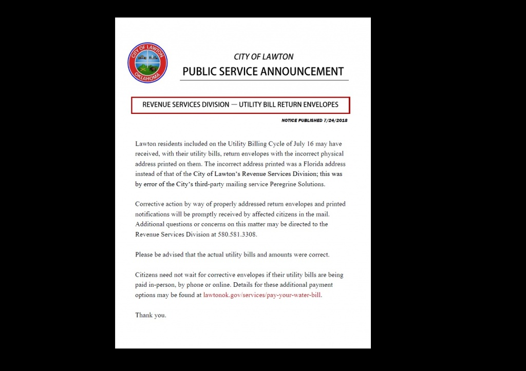 PSA: Utility Bill Return Envelopes | LawtonOK gov
