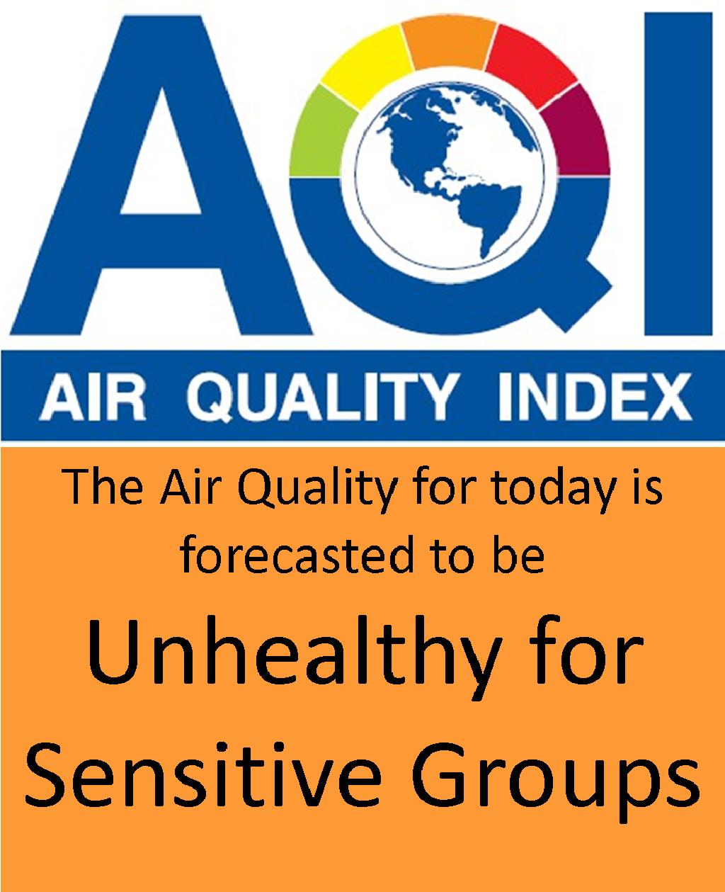 The Air Quality Index for August 3rd is forecasted to be Unhealthy for Sensitive Groups