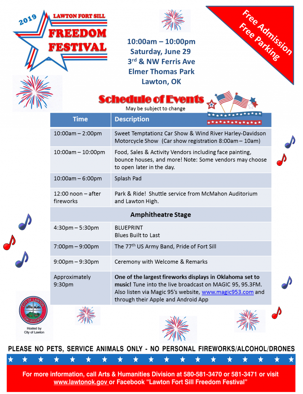 "Poster 8.5"" x 11"" for the 2019 Lawton Fort Sill Freedom Festival"