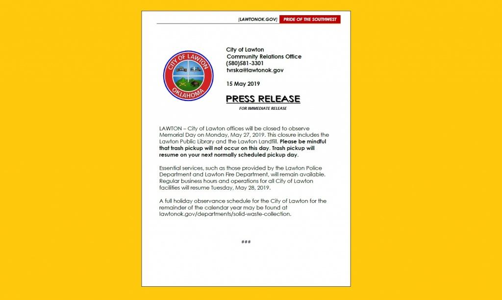 Col Memorial Day Closures Lawtonok Gov