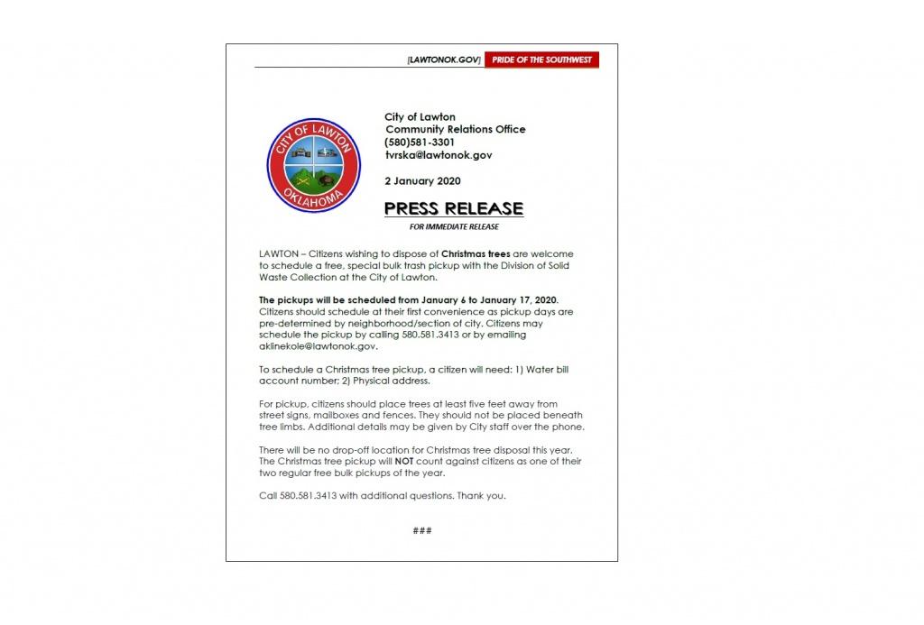 2020 Dispise Of Christmas Tree Christmas Tree Disposal, City of Lawton 2020 | LawtonOK.gov