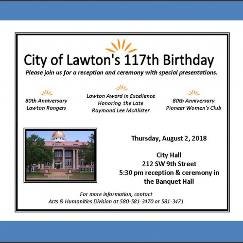 2018 City of Lawton Birthday and Reception Invitation