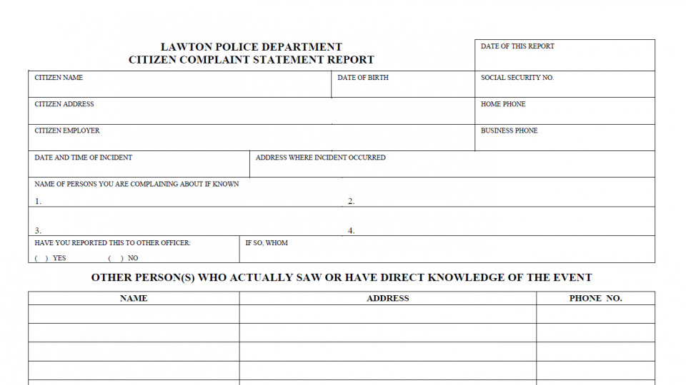 Lawton police department officer complaint form lawtonok complaint form thecheapjerseys Image collections